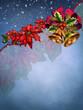 Niebieskie świąteczne tło z kwiatami i dzwonkami