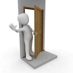 Tür öffnen und winken