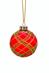 Close up of christmas red ball hanging on white background. Isol