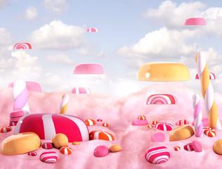 Candy land bonbons, 3d render