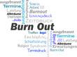 BurnOut Schlagwortwolke Wörter blau
