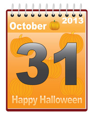 calendar with Halloween date vector illustration