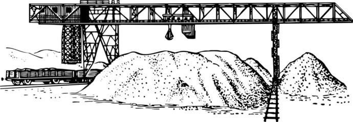 Heavy duty construction crane on railroad
