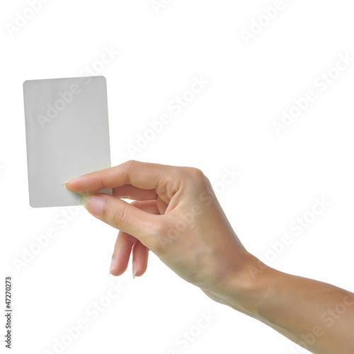 Hand and a card isolated