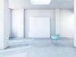 Stuhl und Leinwand im leeren Industrie Loft