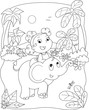 Coloring illustration of a girl riding a elephant