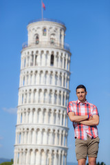 Young Boy Posing with Leaning Tower in Pisa