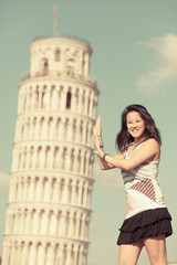 Chinese Girl with Leaning Tower of Pisa