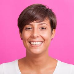 Beautiful Young Woman Portrait on Fuchsia Background