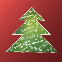 Christmas tree concept. Words composition. Vector illustration,