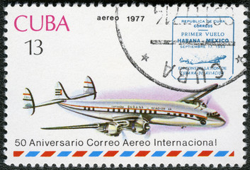 CUBA - 1977: shows vintage airplane and Havana-Mexico cachet