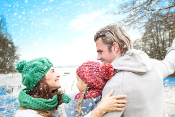familie im winter