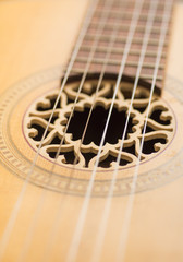 Closeup of strings on old acoustic guitar
