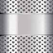 Background perforated shape heart, metallic texture