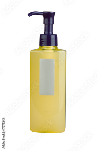 A bottle of shampoo, liquid soap, or lotion with blank label.