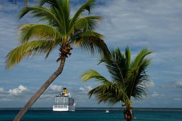 Tropische Palmen mit Kreuzfahrtschiff