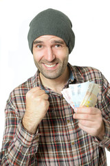 Jubelnder Mann mit Geld