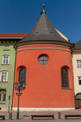 Buildings on small square in old town of Krakow
