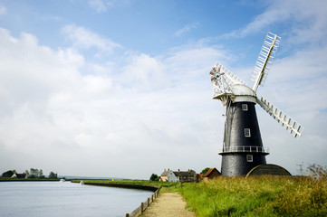 Norfolk Broads black and white windmill landscape