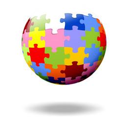 bunte Puzzle Teile als Kugel, unfertg