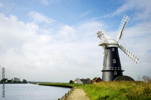 Norfolk Broads black and white windmill landscape - 47279214