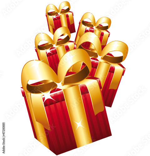 Red gifts with large golden bows falling.