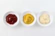 Ketchup, mustard, and mayonnaise