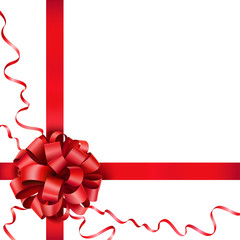 Gift red bow with a ribbon