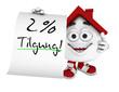 Kleines 3D Haus Rot - 2 Prozent Tilgung