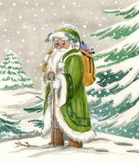Nordic Santa Claus in green dress, watercolor