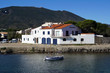 House and Catalan boat in the Mediterranean village of Cadaques