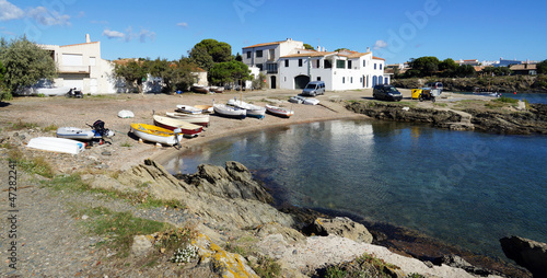 Panorama over a cove in the Mediterranean village of Cadaques