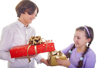 Brother and sister exchanging presents