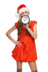 Santa woman proclaiming into the loudspeaker