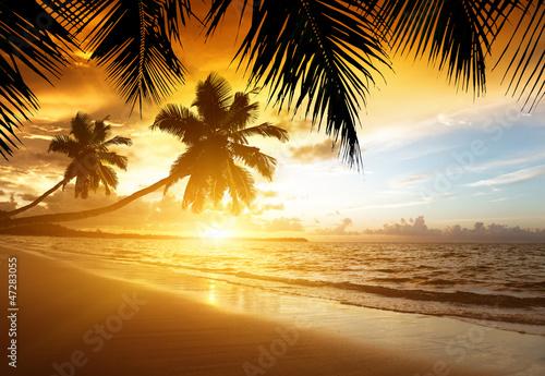 zachód słońca na plaży Morza Karaibskiego
