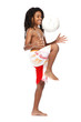 young rasta guy with football in studio