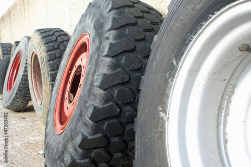 wheels and tires for large trucks ready for installation