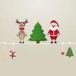 santa reindeer tree on twine brown background