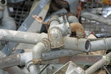 rusted and old iron pipes and lead