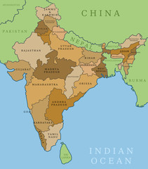 India states - administrative division vector map