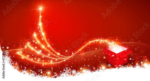Christmas tła z pola magii i choinki