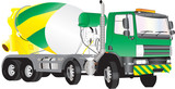 A Green and Yellow Concrete Mixer Truck isolated on white