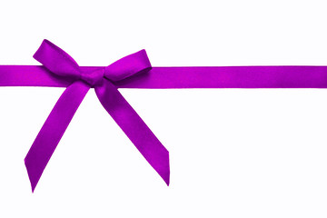 Purple satin bow on a satin ribbon.