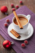 Cup of espresso with cinnamon for christmas