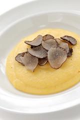 polenta with truffles, italian cuisine