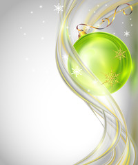 Abstract christmas background with green ball