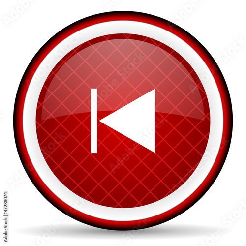 prev red glossy icon on white background