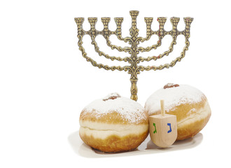 Traditional symbols of Jewish holiday - Hanukkah