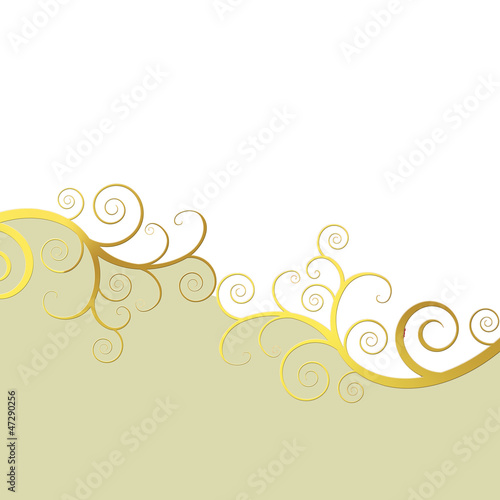 Elegant background with golden swirls