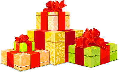 illustration of four colorful gift box on white background